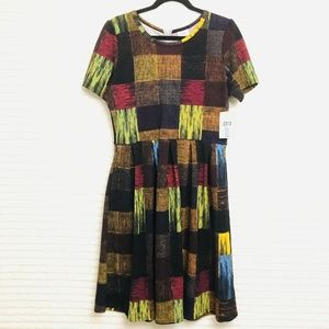 LuLaRoe Amelia XL Jewel Tone Patchwork Dress Pleat